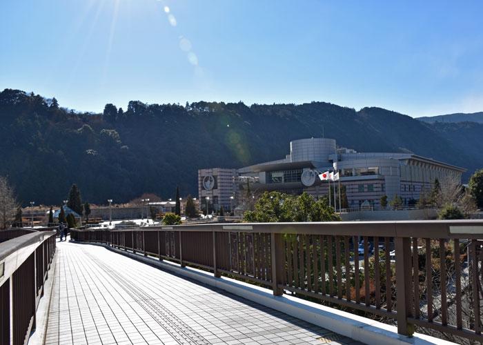 歩道橋の上から見た神奈川県立生命の星・地球博物館