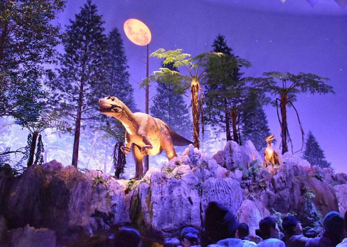 北九州市立いのちのたび博物館のエンバイラマ館のワキノサトリュウとズンガリプテルスの復元模型