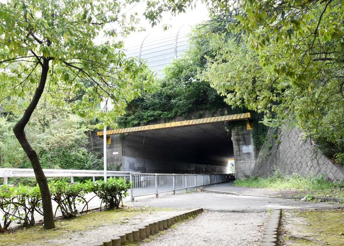 京都市青少年科学センター近くの高速道路高架下のトンネル