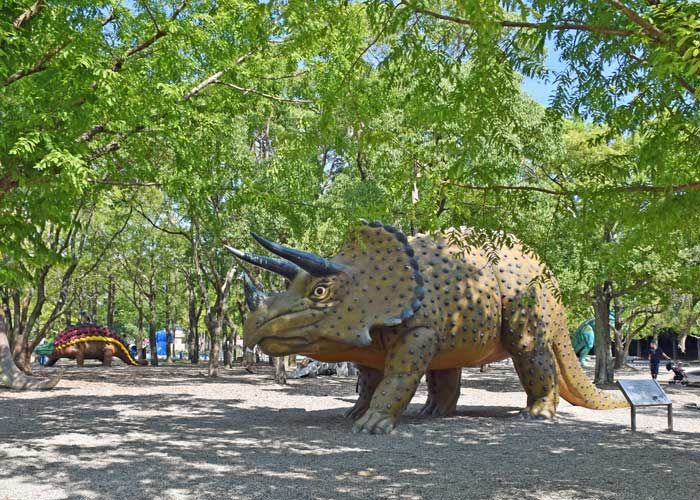 トリケラトプスの復元模型:豊橋市自然史博物館の野外恐竜ランド